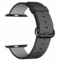 Dây đeo cho đồng hồ Apple Watch Woven nylon 44mm/42mm màu đen kẻ trắng