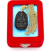 Dây chuyền phật Thiên Thủ Thiên Nhãn - thạch anh đen 3.6cm DIVTEB8 - dây inox vàng - kèm hộp nhung - tuổi Tý