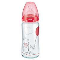 Bình Sữa Thủy Tinh 240ml Disney Núm Ti Silicone S1 Nuk NU34426 (Size M) - Màu Ngẫu Nhiên