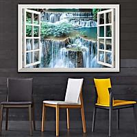 Bức tranh dán tường cửa sổ THÁC NƯỚC in giấy ảnh với 2 lựa chọn bề mặt cán PVC gương hoặc cán bóng, mã số: 00402196L11