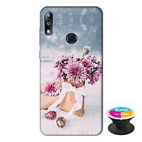 Ốp lưng điện thoại Asus Zenfone Max Pro M2 hình Hoa Tình Yêu tặng kèm giá đỡ điện thoại iCase xinh xắn - Hàng chính hãng