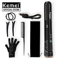 Máy duỗi tóc không pin KEMEI KM-HS101 sử dụng pin sạc USB điều chỉnh 3 mức nhiệt độ làm nóng nhanh Tặng kèm bao tay cách nhiệt, kẹp chia tóc, lược chải tóc, thun cột tóc