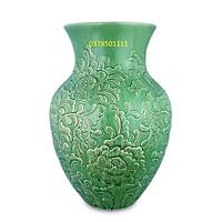 Bình hoa men xanh ngọc khắc hoa phù dung, hoa sen S3
