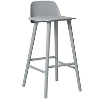 Ghế bar thân nhựa xám chân thép sơn có lưng tựa cb nerd