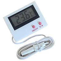 Mini LCD Display Digital Temperature Meter Gauge with 1M Waterproof Probe - White