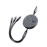 Cáp sạc dây rút Baseus Fabric 3-in-1 Flexible Cable tích hợp 3 đầu Type C / Micro USB/ Lightning 3.5A 1.2M- Hàng nhập khẩu