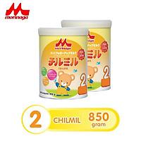 Combo 2 hộp Sữa Morinaga số 2 Chilmil 850g/ hộp thêm dưỡng chất mới (Nguyên đai, nguyên tem)