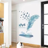 Decal dán tường chất liệu PVC loại 1 dày dặn, sắc nét, trang trí phòng khách- Lông chim thư pháp- mã sp QR9228