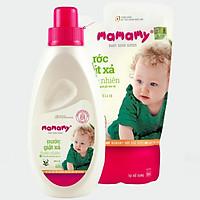 Combo 1 chai Nước giặt xả thiên nhiên Mamamy 800ml/chai, an toàn cho bé và 1 Túi bổ sung cùng dung tích hương Bellis