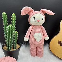 Gấu bông móc len Amigurumi cao cấp - Thỏ tim quà tặng thú nhồi bông