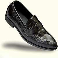 Giày Nam Da Bò Dập Vân Cá Sấu UDANY - GLN14 - Màu Đen Phù Hợp Đi Làm Công Sở và Đi Chơi