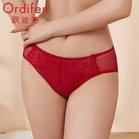 Ou Difen women's underwear in the waist briefs mesh no traces pants female sense hip lace underwear XP8260 black L