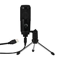 Microphone điện dung siêu nhạy âm kèm giá đỡ với cổng kết nối USB cho laptop thích hợp thu phát âm thanh, hát karaoke
