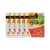 SET 5 gói mặt nạ giấy dưỡng ẩm trắng da Trái cây Avander  25G