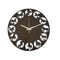 Đồng hồ treo tường hình ngựa trang trí nội thất nhà cửa đời sống quà tặng độc đáo sử dung máy kim trôi cao cấp