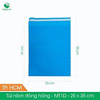 MT1D - 25x35 cm - Túi nilon gói hàng - 100 túi niêm phong đóng hàng màu xanh dương