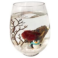 Combo Bể Cá Mini Bầu Dục Mùa Đông + Phụ kiện + Thức ăn Cá