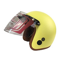 Mũ Bảo Hiểm Đẹp 3/4 lót màu Vàng lót nâu N033 có kính _ Nón bảo hiểm phượt có kính chắn gió, chống bụi_ Kèm kính màu ngẫu nhiên