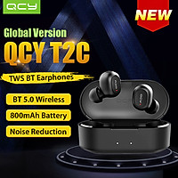 Global Version QCY T2C TWS BT Wireless Earphones with Dual Microphone 800mAh Charging Box Stereo BT Headsets Sports