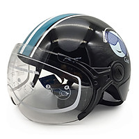 Mũ Bảo Hiểm Nửa Đầu Có Kính Cao Cấp Protec Hiway Họa Tiết Đen Xanh Tem Hình COOL Ngầu (Mẫu Mới) - Hàng Chính Hãng
