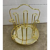 Giá úp cốc tròn INOX mạ vàng có khay nhựa hứng nước - ANTH337