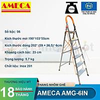 Thang ghế inox chữ A 6 bậc nhôm Ameca AMG-6IN chiều cao sủ dụng 1.4m