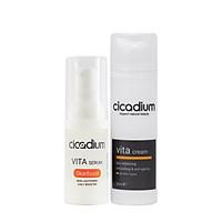 Bộ đôi sản phẩm kem dưỡng với serum dưỡng da trắng khoẻ và ngăn ngừa lão hoá Cicadium
