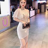 Đầm body dự tiệc lệch vai kim sa sang trọng TRIPBLE T DRESS - size M/L/XL (kèm ảnh/video thật)MS8V