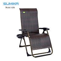 Ghế xếp thư giãn SUMIKA 636 -  lưới mây nhân tạo thoáng mát, khung ghế thép sơn tĩnh điện cao cấp, tải trọng 300kg
