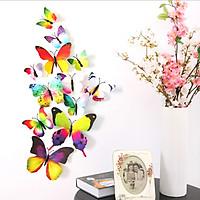 Bộ 12 con bướm cánh đơn 3D trang trí dán tường và tủ lạnh đế nam châm và băng dính cao cấp M11