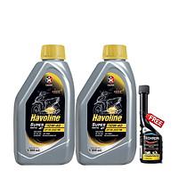Combo 2 chai dầu nhớt xe tay ga Caltex Havoline SuperMatic 4T SAE 10W-40 800ml tặng kèm dung môi pha xăng