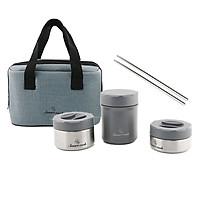 Bộ 3 hộp đựng cơm Inox 304 Lunch box Elmich Smartcook SM-3956 kèm túi xách tặng đũa Inox