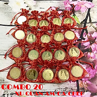 Combo 20 xu Quan Âm màu vàng Cá Chép tặng kèm túi gấm (giao màu ngẫu nhiên), dùng để làm quà tặng, biếu, xỏ lỗ đeo dây hoặc bỏ vào túi mang theo - SP005129