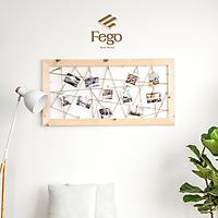 Khung ảnh treo tường dạng lưới bằng gỗ thông Fego/ Giá treo ảnh tặng kèm kẹp gỗ Decor trang trí nhà cửa