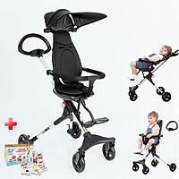 Xe đẩy em bé, Xe đẩy du lịch gấp gọn TW0205 đảo chiều cao cấp với lưng ghế ngả được: 100-110-130 độ giúp bé thoải mái tuyệt đối, mẫu mới nhất 2021 - TẶNG KÈM BỘ THẺ HỌC THÔNG MINH 16 CHỦ ĐỀ 416 THẺ CHO BÉ