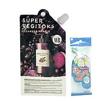 Sữa rửa mặt thải độc rau củ Wonder Bath Super Vegitoks Cleanser Dạng Gói 30ml (MàuTím) + Tặng Kèm 1 Túi Lưới Rửa Mặt Tạo Bọt