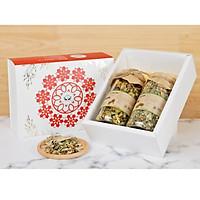 Hộp quà tặng trà hoa cao cấp - Set 4: Vô ưu mộc trà, Thanh can mộc trà