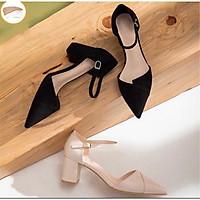 GC51_Giày cao gót nữ da mềm đế vuông 5p vạt chéo siêu xinh