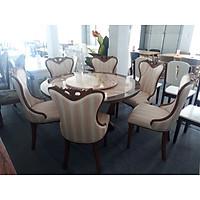 Bộ bàn ăn tròn mặt đá xoay gỗ sồi nhập khẩu cao cấp 1M3 6 ghế bọc da