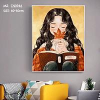 Tranh tô màu theo số sơn dầu số hóa Tranh cô bé ngồi đọc sách CN0946