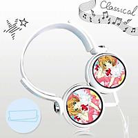 Tai nghe Sakura thủ lĩnh thẻ bài anime chibi thiết kế thông minh cá tính cắm dây có mic