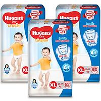 Combo 3 Gói Tã Quần Huggies Dry Gói Cực Đại XL62 (62 Miếng)