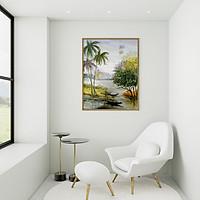 Tranh canvas phong cách màu nước (watercolor) Bến sông - WT001