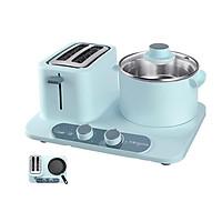 Máy nướng bánh mì kèm bếp mini, máy làm đồ ăn sáng đa năng 3 trong 1