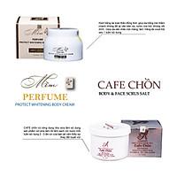 Bộ sản phẩm tẩy da chết, dưỡng trắng da Acosmetics (Kem body mềm và Muối tẩy tế bào chết cafe chồn)