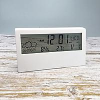 Đồng hồ điện tử để bàn màn hình trong suốt ( Hiển thị thời gian, lịch, thời tiết, đo nhiệt độ, độ ẩm )