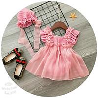 Body cho bé gái kiểu váy nhún bèo kèm mũ cho bé từ sơ sinh đến 3 tuổi