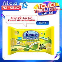 Khăn ướt lau sàn kháng khuẩn tiện dụng IHomeDa - Hương Cam ( 10 miếng ) - iHomeda anti bacteria floor and kitchen wet wipes - Orange Lime Scent ( 10 sheets per package)