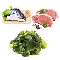 Combo 52: 1 Cái đầu cá hồi + 1kg Cốt lết heo cắt lát  + 300gram Rong biển tươi