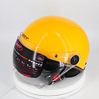 Mũ Bảo Hiểm Nửa Đầu Viền Đồng Có Kính SRT Chống Tia UV Cao Cấp